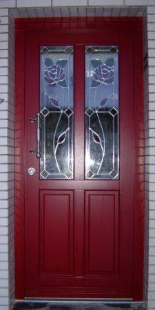 Holz Haustür Rot Mit Bleiverglasung Haustüren Galerie